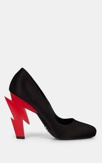 PRADA Satin Sculpted-Heel Pumps / red lightning-bolt heels