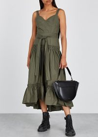 PROENZA SCHOULER Army green cotton dress | frill hem summer frock
