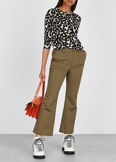 PROENZA SCHOULER Olive flared stretch-cotton trousers ~ green casual pants