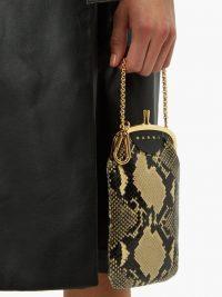 MARNI Python-effect black leather clutch bag ~ small snake print bags
