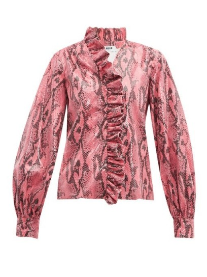 MSGM Python-effect patent ruffled blouse in pink
