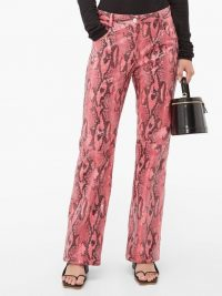 MSGM Pink python-effect patent trousers ~ high-shine pants