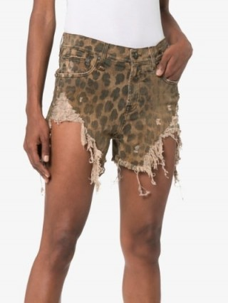 R13 Shredded Slouch Leopard Print Denim Shorts in Brown