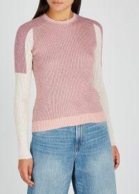 RAG & BONE /JEAN Tia colour-block ribbed-knit jumper ~ pink sweaters