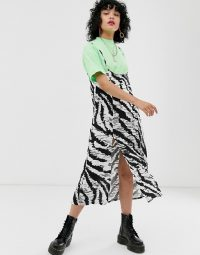 Reclaimed Vintage inspired skirt with braces in mono animal print