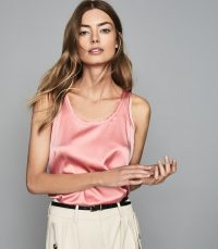 Reiss REMEY SILK FRONT VEST PINK | pretty scoop neck tank