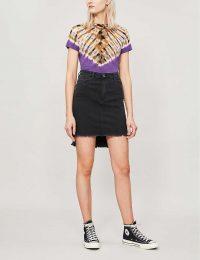 REPLAY Raw-hem straight high-waist stretch-denim skirt in black ~ high-low hemline