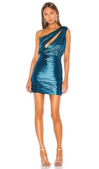retrofete Cassia Dress Turquoise. SHINY CUT-OUT MINI