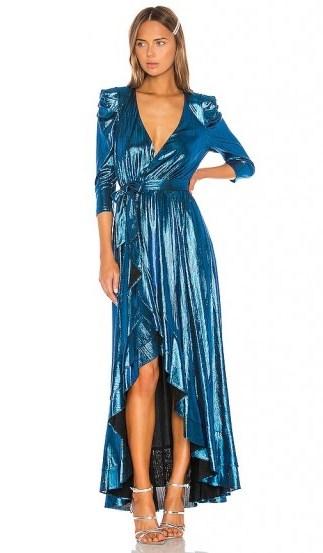 retrofete x REVOLVE Flora Gown Turquoise. SHINY BLUE MAXI DRESS - flipped