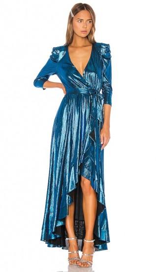 retrofete x REVOLVE Flora Gown Turquoise. SHINY BLUE MAXI DRESS