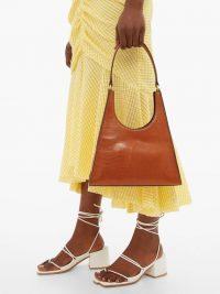 STAUD Rey tan lizard-effect leather shoulder bag