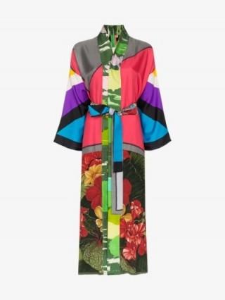 Rianna + Nina Panelled Floral Print Silk Kimono / mixed print kimonos