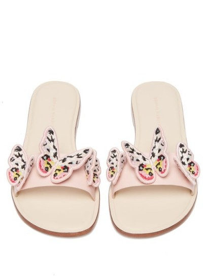 SOPHIA WEBSTER Riva embroidered butterfly-appliqué leather slides ~ sweet summer flats