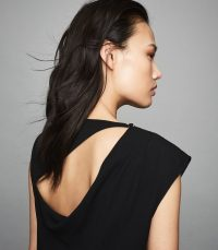 REISS ROBERTA PLEAT DETAILED SLEEVELESS TOP BLACK ~ cut-out detailed tops