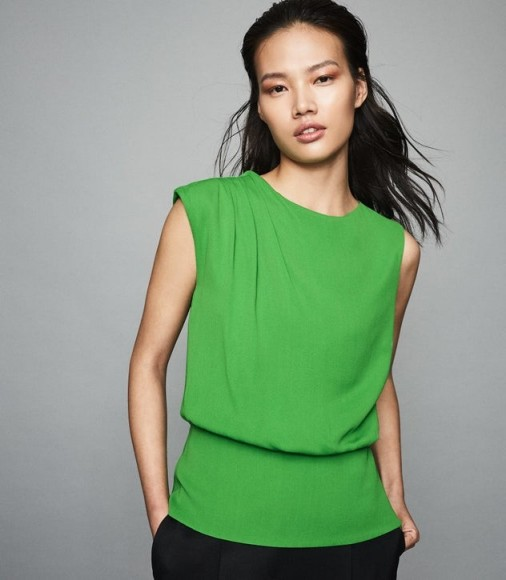 REISS ROBERTA PLEAT DETAILED SLEEVELESS TOP GREEN ~ contemporary clothing