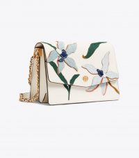 TORY BURCH ROBINSON APPLIQUÉ CONVERTIBLE SHOULDER BAG in Birch ~ floral bags