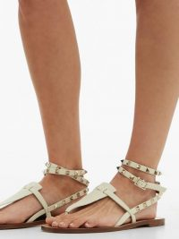 VALENTINO Rockstud double-strap cream leather sandals | strappy flats