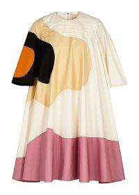 ROKSANDA Shayla panelled cotton-blend dress ~ voluminous abstract print dresses