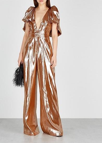 ROLAND MOURET Mooreland rose gold silk-blend jumpsuit ~ metallic plunge front jumpsuits ~ event glamour