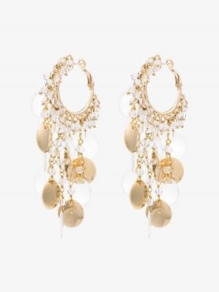 Rosantica Gold Tone Beaded Disc Hoop Earrings