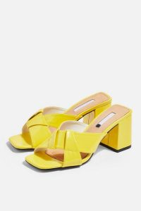 Topshop ROUX Neon Cross Strap Mules | bright block heel sandals