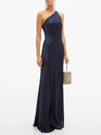 GALVAN Roxy one-shoulder satin dress in navy | luxe party wear