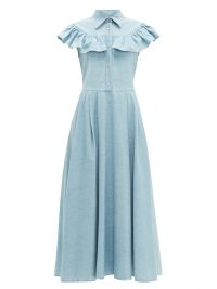 MIU MIU Ruffled light-blue denim midi dress