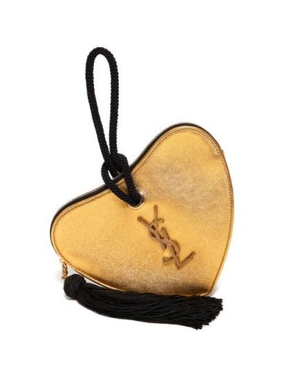 SAINT LAURENT Sac Cœur heart gold-leather clutch | small luxe evening bag