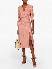 ALTUZARRA Sade pink lamé-striped georgette midi dress