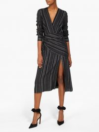 ALTUZARRA Sade metallic-striped wrap dress in black