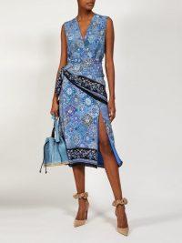 ALTUZARRA Sade blue paisley-print silk wrap dress ~ sleeveless front wrap detail dresses