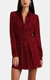 SAINT LAURENT Red and Black Leopard-Print Crepe Shirtdress / designer shirt dress