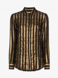 Saint Laurent Metallic Stripe Buttoned Shirt ~ black and gold stripes