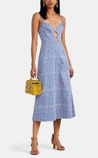 SALONI Jana Blue and White Dot-Print Cotton Midi-Dress