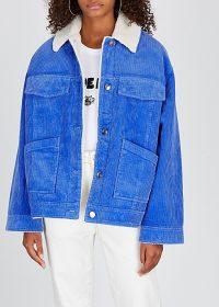 SAMSØE & SAMSØE Venya blue corduroy jacket ~ faux shearling lined jackets