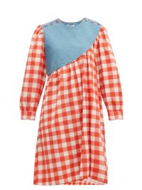BATSHEVA Sash denim-panelled gingham cotton dress