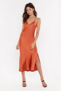 Nasty Gal Satin the Know Cowl Midi Dress in Rust | slinky cross back cami frock