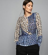 REISS SELMA PRINTED WRAP FRONT BLOUSE BLUE ~ abstract prints