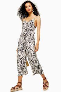 TOPSHOP SEOUL Zebra Print Button Down Jumpsuit Monochrome / strappy summer jumpsuits
