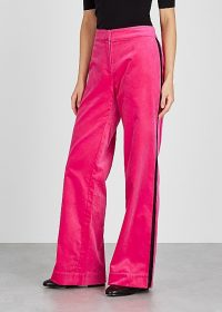 SERENA BUTE Camilla pink velvet trousers ~ bright side stripe pants