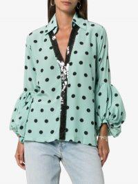 Silvia Tcherassi Blythe Polka Dot Sequin Embellished Silk Blouse in Blue ~ glamorous blouses