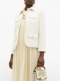 CHLOÉ Single-breasted twill utility jacket in white ~ chic utilitarian clothing