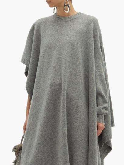 MAISON MARGIELA Single-sleeve grey wool poncho ~ chic and stylish ponchos