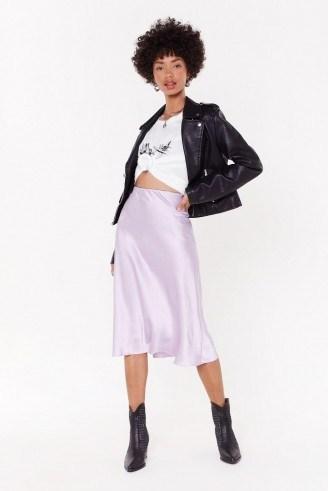 NASTY GAL Slipped and Fell Satin Midi Skirt in Mauve - flipped