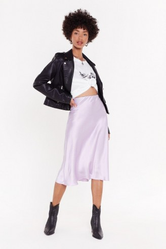 NASTY GAL Slipped and Fell Satin Midi Skirt in Mauve