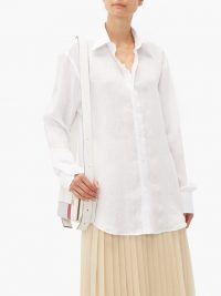 EMMA WILLIS Slubbed linen-poplin shirt in white ~ lightweight shirts