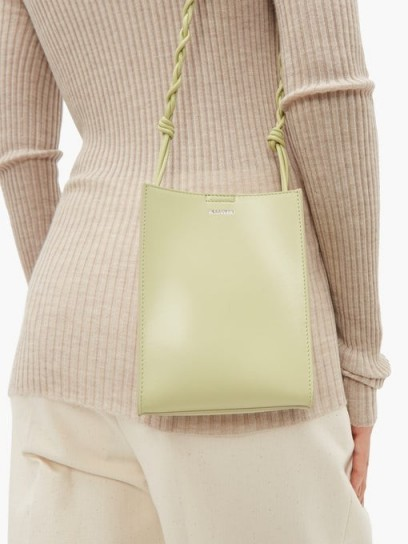 JIL SANDER Small pastel-green leather cross-body bag