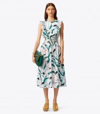 TORY BURCH SMOCKED PRINTED DRESS in Ivory Desert Bloom ~ ruffled summer dresses