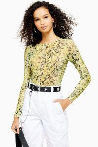 TOPSHOP Snake Mesh Bodysuit in Yellow