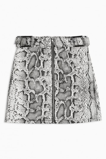 TOPSHOP Snake Print Denim Buckle Skirt Monochrome